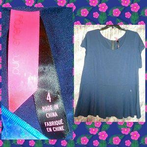 Pure Energy Navy Soft Knit Peplum Top Sz 4
